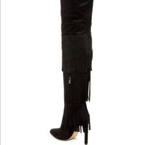 Chelsea & Zoe black fringe boots